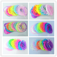 Wholesale Trendy Cute Fluorescence Color Mixed Design Glow Silicone Elastic Charm Bracelets Wristbands Rubber Hair Bands Hair Jewelry Multicolor SZ268