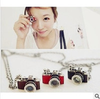 Wholesale Vintage Silver Red Glaze Camera Pendant Necklace NEWEST Vintage Alloy Acrylic Gemstone Fashion Long Style Cute camera New