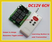 Sistema de conmutación inalámbrico de control DC12V 6CH Canal de conmutación / Momentary / Latched cambiar libremente Código de aprendizaje 315/433 Receptor de RF Transmisor