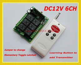 Wholesale Wireless Remote Control Switch System DC12V CH Channel Toggle Momentary Latched change freely Learning Code RF Receiver Transmitter
