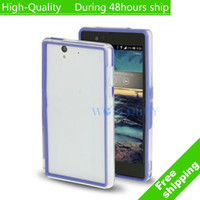 For Sony Ericsson Metal Yes High Quality TPU + Transparent Plastic Bumper Frame for Sony Xperia Z L36H C6603 Free Shipping UPS DHL EMS HKPAM CPAM VS-3