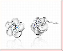 Wholesale by dozen Promotion Hot sale Plum Flower modeling silver earrings stud silver earrings jewelry WE046w
