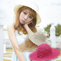 Wide Brim Hat Red Cowboy Free Shipping Knitted strawhat bow flower big along the cap beach sunbonnet women's bucket hat