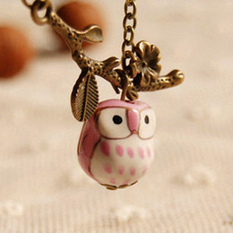 Kawaii Ceramic Owl Pendant Necklace Pink Yellow Green Blue Bronzed Long Necklaces for Best Friends xl068