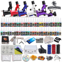 Wholesale Professional Complete Rotary Tattoo Kits Guns Machines Colors Ink Sets Power Supply Pieces Disposable Needles Tips Grips MKD1DH USA