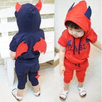 shit - New Korean Summer Children s Small demon hooded with T Shit Haroun pants Set Kids Boys And Girls Outfit Childs Floral Outwear G0076