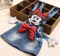 Wholesale 2014 Girls Princess Dress Girl Dresses Strap Suspender Dress Denim Jeans Big Bow Dots Cartoon Minnie Mouse Sequin D Romper Jumpsuit C2028