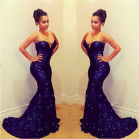 Wholesale BH Sparkling Sweetheart Off Shoulder Sleeveless Mermaid Long Deep Blue Sequined Lace Prom Dresses Short Trailing