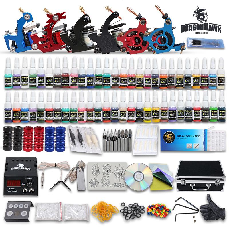 Beginner cheap tattoo starter kits 6 guns machines 54 ink for Cheap tattoo ink