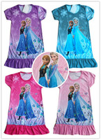 Wholesale Retail Hot Sale summer girls dresses Frozen Princess patterns children nightdress Cartoon design POLYESTER kids pajamas dress Melee