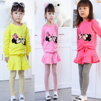 Girl Spring / Autumn Long Direct Line Fast Shipping Baby Girls 2014 Children Clothes Long Sleeve Shirt + Stripe Leggings Set Cartoon Minnie Mouse Outfit Suits C2016