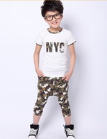 Wholesale Summer Children s Camouflage printed Letter Shit Camouflage pants Set Kids Boys And Girls Outfit Childs Floral Outwear G0078