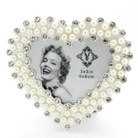 glass photo frame - 3inch European Heart Elegant Pearl Crystal Round Circle Glass Photo Frame Home Decoration Accessory Birthday Gift PF002