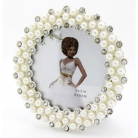 glass photo frame - 3inch European Style Palace Elegant Pearl Crystal Round Circle Glass Photo Frame Home Decoration Accessory Birthday Gift PF001