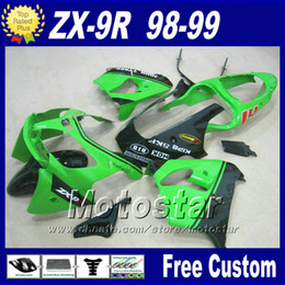 ABS motorcycle fairing for Ninja Kawasaki ZX-9R 98 ZX9R 99 green black plastic bodywork fairings kit ZX 9R 1998 1999 with 7gifts fr13