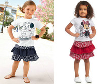Girl Summer Short 2014 Kids Clothing Sets Cute Dog Children Cartoon Minnie Mouse Set Girl Short Sleeve Tops + Tulle Dress Suits Girls Clothing Outfits C2017
