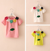 Girl Spring / Autumn Standard 2014 Summer Girl's floral short sleeve tshirts summer shirt clothing Girls flowers leaves T-shirt