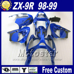 Wholesale ABS motorcycle fairing for Ninja Kawasaki ZX R ZX9R blue black customize body work fairings kit ZX R with gifts fr22
