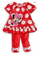Wholesale In Stock Children Clothing Kid Girl Summer Set Bowknot Polka Dots Red Cartoon Minnie Mouse Outfit Suits Girls Clothing Outfits C2018
