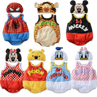 Cheap Baby's clothing set Summer Cartoon Romper suits, infant short-sleeved Romper + hat sets Little Spring B LZ-L0094