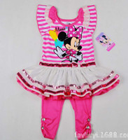 Wholesale 2014 Baby Girls Suit Kids Children Piece Set Minnie Mouse Stripe Lace Tuller Dress Sequin Skirt Shirt Leggings Rhinestone Pants Sets C2020