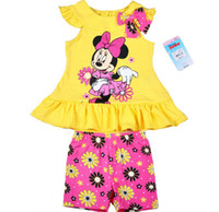 Girl Summer Short New Arrival 2014 Fashion Kids Clothing Sets Cartoon Mouse Minnie Set Girl Puff Sleeve Bow T Shirt + Flower Shorts 2PCS Outfit Yellow C2021