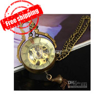 Wholesale Mechanical Necklace Pocket Watches Steampunk Brass Copper Glass Ball Sold NO in the dhgate