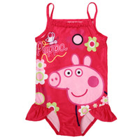 Wholesale 2014 New girls swimwear cartoon PEPPA PIG red one piece swimsuit baby bathing suits toddler swimming wear R4752