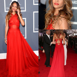 Wholesale Hot Rihanna Grammy Awards Red Carpet Dresses Sexy Red A Line Sweep Train Criss Cross Chiffon Evening Prom Dresses EM01266
