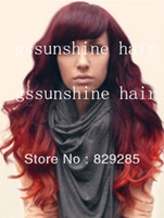 Cheap Hot Fashion two tone ombre color #99j red loose wave virgin brazilian human hair glueless front lace wig with bang Free Shipping