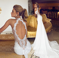 Wholesale Romantic Open Back Lace Wedding Dresses Mermaid Trumpet Sweetheart Applique Beads Chiffon Bridal Gown yk8R874