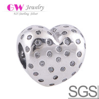 Wholesale SHIMMERING HEART CHARM Love Heart sterling silver designer beads charms as girl gift fit european fashion bracelets LW338