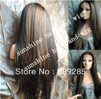 Wholesale Superior quality quot B highlight silky straight glueless lace front wig indian remy human hair