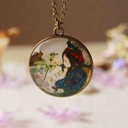 Hand Drawing Little Girl Necklace Vintage Long Necklaces Hand Jewelry Birthday Presents xl036