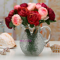 Wholesale silk simulation artificial flower camellia rose single stems piece bunch for Bridal bouquet wedding home party decoration