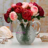 single flowers - silk simulation artificial flower camellia rose single stems piece bunch for Bridal bouquet wedding home party decoration