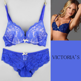 Wholesale Very Sexy VS Lace design Bra and Panty Set VSS020 Quality Underwear push up bras Women brassiere Lingerie bra set