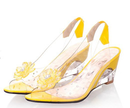 Wholesale New style Women sexy sandals Wedding Bridal sandals Cool and refreshing transparent flowers for women s shoes Big size size US3 NL35
