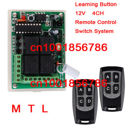 New # DC 12V 10A 4 Channels Learning Code RF Wireless Remote Control Switch Systems Receiver * 2Waterproof Transmitter