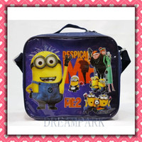 Wholesale Nylon Cartoon Despicable Me Lunch bag including a lunch box and a bottle