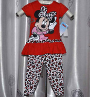 Wholesale New Arrival Sparkling Girl Minnie Mouse Glitter Tshirts amp Long Pants Fashion Leopard Print Kids Clothing Girls Sets Tracksuit Red C2026