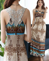 Wholesale Fashion New Style Bohemia Printing Maxi Long Dresses Sexy V Neck Hot Lace Hollow Out Back Lady Vacation Seaside Summer Beach Dress ecc1247