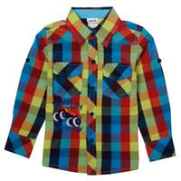Wholesale 2014 korean children clothing twill cotton fabric boys shirts Cars embroidery checkered shirt tshirt A3925