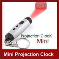 Mechanical Digital Yes free shipping MINI Digital Projection Projector LED Clock Time Keyring Keychain Light mini lamp 3 buttons Ring Hotsalling