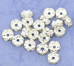 100pcs Silver Plated White Flower Side Rhinestone Rondelle Spacers Beads 8x3mm