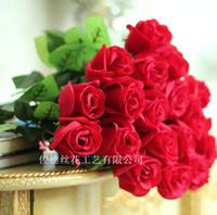 Valentine's Day artificial velvet roses - Single red velvet rose artificial flowers lover