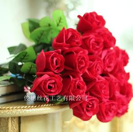 Single red velvet rose artificial flowers wholesale lover