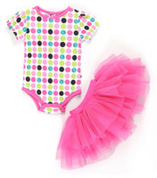 Infant Summer Colorful Dots Lace Tutu Dresses Short Sleeve J...