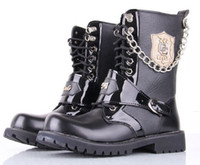 Wholesale new Fashion High help lace up combat boot Men s leather boots rivets Martin boots Big yards leisure keep warm Man cowboy boots