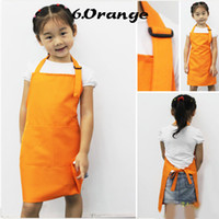 Wholesale Preschool Toddler Kids Child Apron Pure Orange Color Kitchen Pinafore Painting Cheap Price